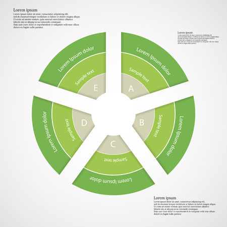 own: Illustration infographic with rounded shape divided to five separate parts each consists of three color green ribbons with space for own text. Each part is numbered by unique sign.