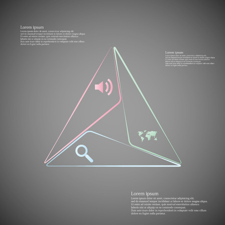Illustration infographic consists of three separate parts from outlines together with shape of bigger triangle. Each part has own simple sign and different color. There is a space for own text. Vector