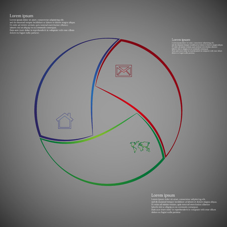 own: Illustration infographic consists of three separate parts from outlines together with shape of circle. Each part has own simple sign and different color. There is a space for own text.