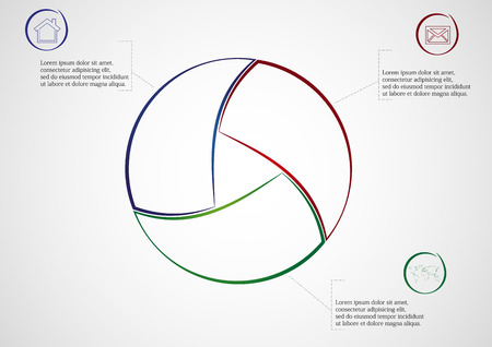 Illustration infographic consists of three separate parts from outlines together with shape of circle. Each part has own simple sign and different color. There is a space for own text. Vector