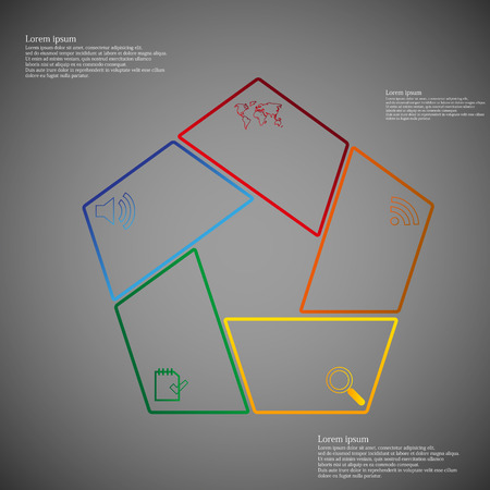 Illustration infographic with pentagon shape consists of five separate color parts created from outlines. Each part has dedicated text and simple sign. Background of picture is dark gradient. Vector