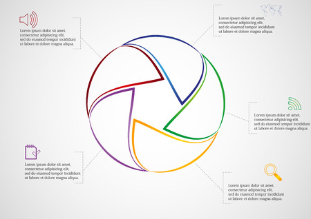 Illustration infographic of rounded infographic consists of five separate color parts created from outlines. Each part has dedicated text and simple sign. Background of picture is light gradient. Vector