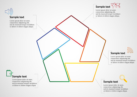 Illustration infographic with pentagon shape consists of five separate color parts created from outlines. Each part has dedicated text and simple sign. Background of picture is light gradient. Vector