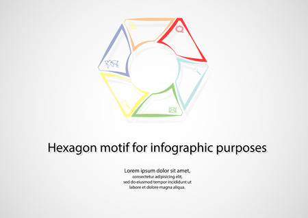 Illustration infographic with hexagon shape consists of six separate color parts crated by outline contours, including simple symbol inside and with space around for own text. Background is light. Vector