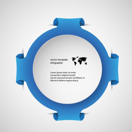Illustration infographic template with motif of blue ring with four folded extra parts which are inserted into pockets in light background. On the blue part is white paper rounded piece with space for text Vector