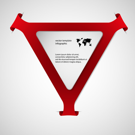 overlapped: Red Illustration infographic with shape of triangle with rounded corners and with four folded overlapped parts which ends in pockets in background. In front is next white paper triangle.