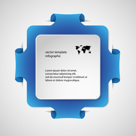 Blue Illustration infographic with shape of square with rounded corners and with four folded overlapped parts which ends in pockets in background. In front is next white paper square. Vector