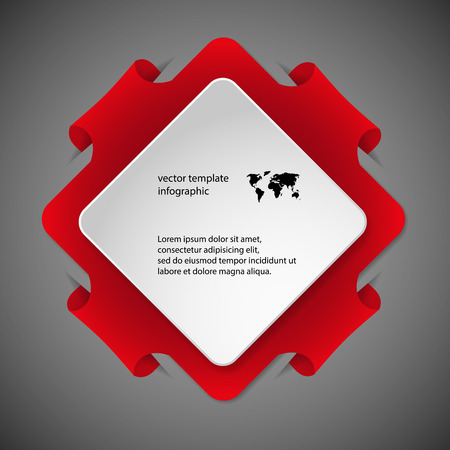 Red Illustration infographic with shape of square with rounded corners and with four folded overlapped parts which ends in pockets in background. In front is next white paper square. Vector