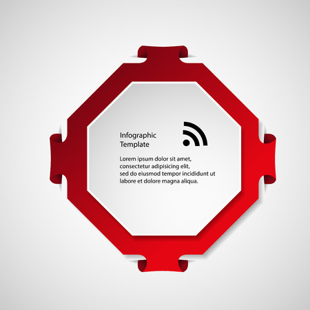 octagon: Illustration infographic with a shape of red octagon with folded corners and second white in front with space for own text. Background is light.