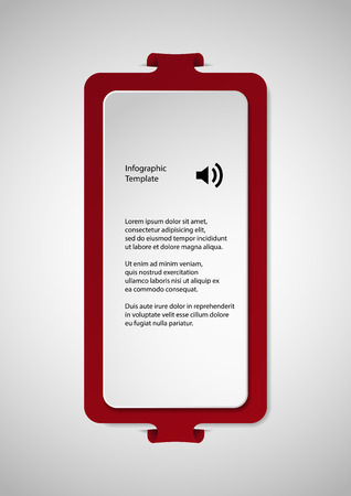 bigger: Illustration infographic with shape of two bars. One white with space for own text and second bigger red one with folded parts which are fitted into cuts in light background.
