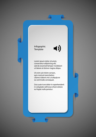 bigger: Illustration infographic with shape of two bars. One white with space for own text and second bigger blue one with folded parts which are fitted into cuts in dark background. Illustration