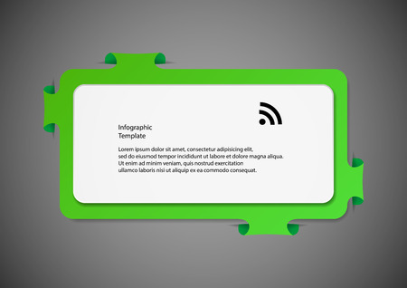 which one: Illustration infographic with shape of two bars. One white with space for own text and second bigger green one with folded parts which are fitted into cuts in dark background.