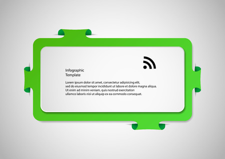 bigger: Illustration infographic with shape of two bars. One white with space for own text and second bigger green one with folded parts which are fitted into cuts in  light background. Illustration