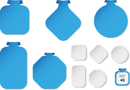bar one: Illustration with set of blue infographic sign templates with different shapes as rectangle, ring, bar or octagon with one folded overlapped end plus five additional shapes with white color.