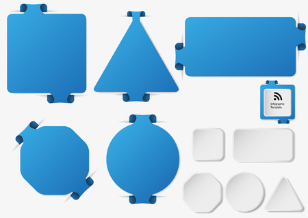 overlapped: Illustration with set of blue infographic sign templates with different shapes as rectangle, ring, bar, triangle or octagon with one folded overlapped end plus five additional shapes with white color.