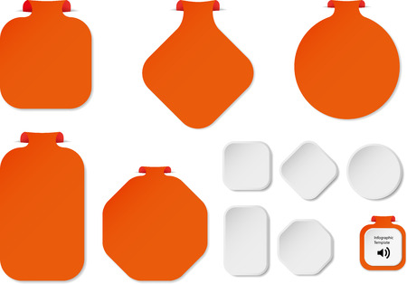 bar one: Illustration with set of orange infographic sign templates with different shapes as rectangle, ring, bar or octagon with one folded overlapped end plus five additional shapes with white color.