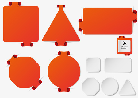 bar one: Illustration with set of orange infographic sign templates with different shapes as rectangle, ring, bar, triangle or octagon with one folded overlapped end plus five additional shapes with white color.