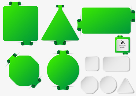 color ring: Illustration with set of green infographic sign templates with different shapes as rectangle, ring, bar, triangle or octagon with one folded overlapped end plus five additional shapes with white color. Illustration