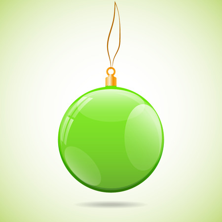 bright light: Illustration template with single shiny green christmas ball with the bright light color background in corners and with shadow under. Ball contains several reflections including windows. Illustration