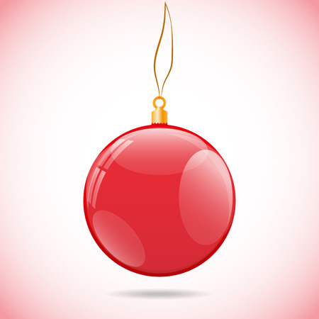 objects with clipping paths: Illustration template with single shiny red christmas ball with the bright light color background in corners and with shadow under. Ball contains several reflections including windows. Illustration