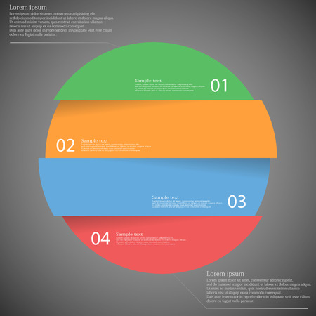 red circle: Illustration infographic with motif of colorful circle which is divided cut to four parts with unique number, color and space for own customer text. Background is dark.