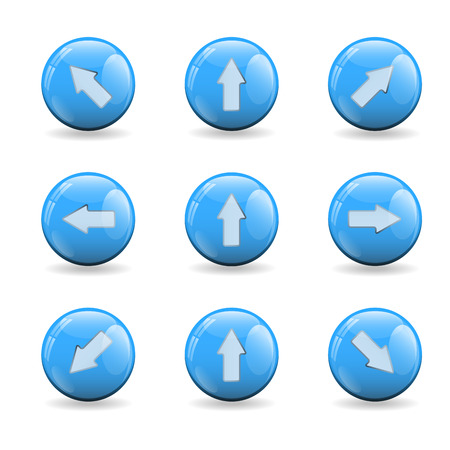 Illustration with set of nine colorful blue buttons balls with several reflections and shadow on bottom. Each element contains an arrow with different way then others. Background is white.