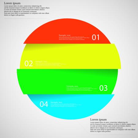 geteilt: Illustration Infografik mit Motiv der bunten Kreis, die vier Teile mit einzigartigen Zahl, Farbe und Raum f�r eigene Kundentext unterteilt Schnitt. Hintergrund ist das Licht.