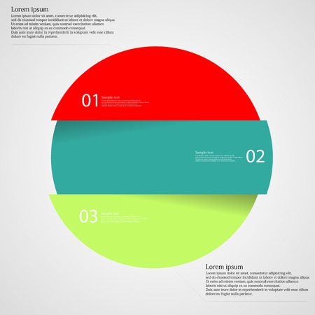 Illustration infographic with motif of colorful circle which is divided cut to three parts with unique number, color and space for own customer text. Background is light. Illustration