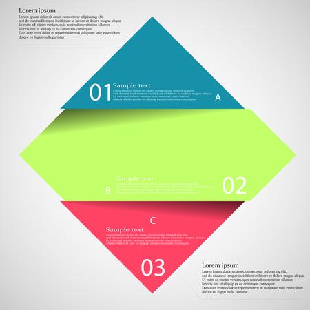 proposito: Ilustración infografía con motivo de rombo rojo verde azul corte dividida tres partes con pequeña sombra. Cada parte contiene número único y el espacio para propio texto u otros fines.