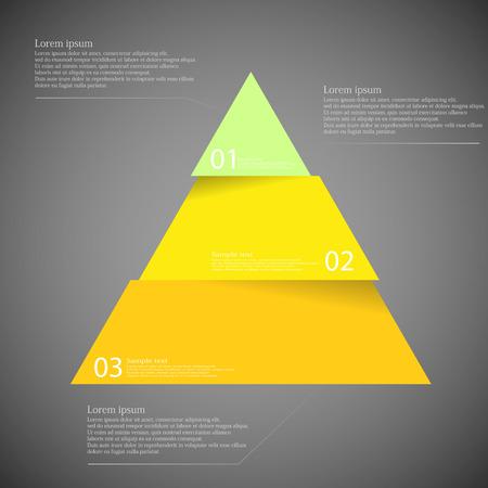 Ilustración infografía con motivo del triángulo amarillo dividió corta a tres partes con pequeña sombra. Cada parte contiene número único y el espacio para propio texto u otros fines.