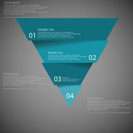 proposito: Ilustración infografía con motivo del triángulo azul dividido corta a cuatro partes con pequeñas sombras. Cada parte contiene número único y el espacio para propio texto o para otros fines. Vectores