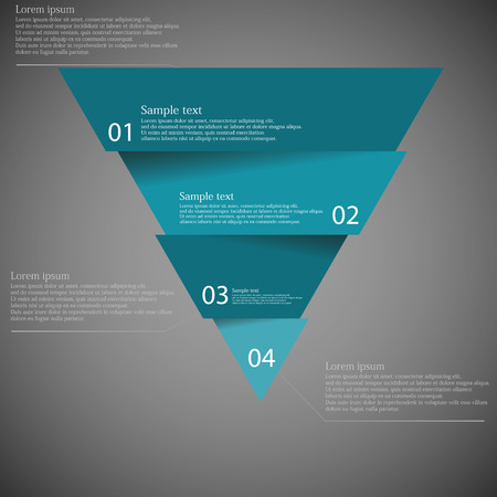 Illustration infographic with motif of blue triangle divided cut to four parts with small shadow. Each part contains unique number and space for own text or other purposes.