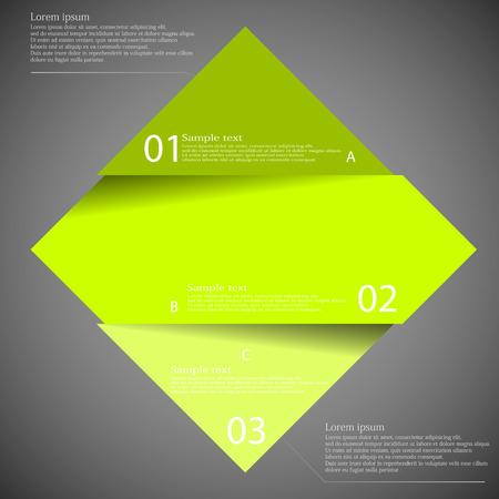 Illustratie infographic met motief van groene ruit verdeeld gesneden tot drie delen met kleine schaduw. Elk onderdeel bevat een uniek nummer en ruimte voor eigen tekst of andere doeleinden.
