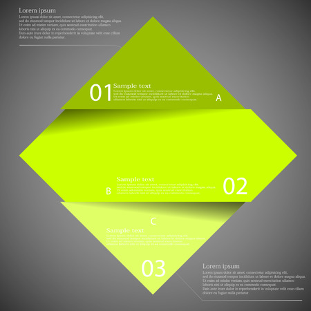 Illustration infographic with motif of green rhombus divided cut to three parts with small shadow. Each part contains unique number and space for own text or other purposes. Stock Vector - 44839370