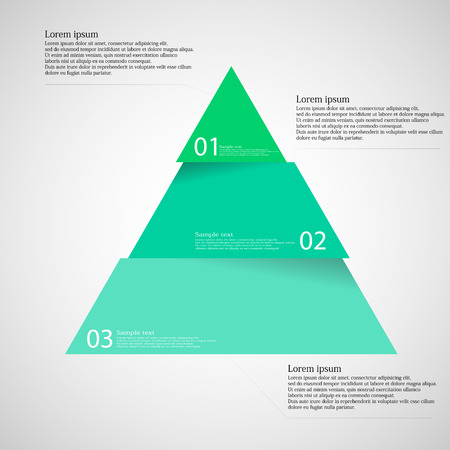 three colors: Illustration infographic with motif of green blue triangle dividedcut to three parts with small shadow. Each part contains unique number and space for own text or other purposes. Illustration
