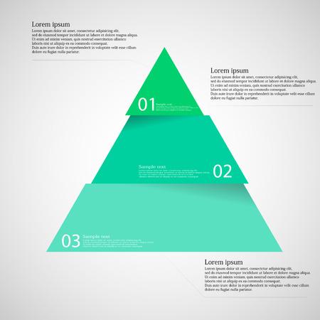 diagrama de procesos: Ilustración infografía con motivo del verde azul dividedcut triángulo de tres piezas con pequeña sombra. Cada parte contiene número único y el espacio para propio texto u otros fines. Vectores