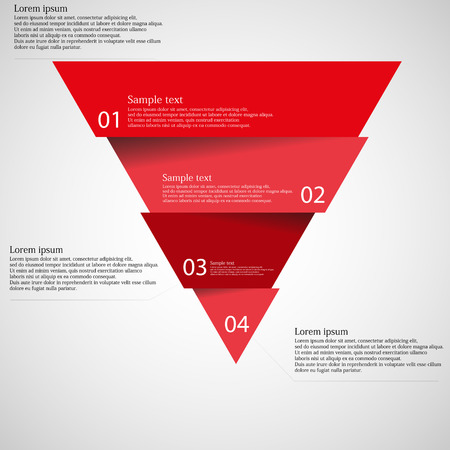 flujo: Ilustración infografía con motivo del triángulo rojo dividió cortar cuatro piezas con pequeña sombra. Cada parte contiene número único y el espacio para propio texto u otros fines. Vectores
