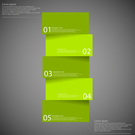 Illustration infographic template on dark background with shape of bar which is divided to five green parts with shadows and with space for customer's text.