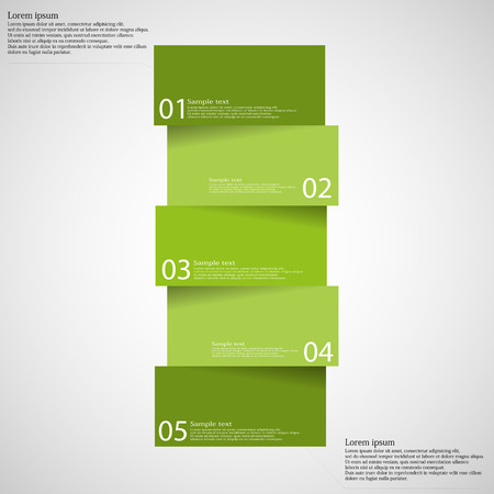 green banner: Illustration infographic template on light background with shape of bar which is divided to five green parts with shadows and with space for customers text.