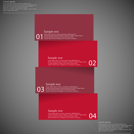 website template: Illustration infographic template on dark background with shape of bar which is divided to four red parts with shadows and with space for customers text. Illustration
