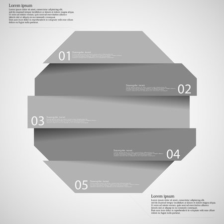 grey scale: Illustration infographic template on light background with shape of octagon which is divided to five grey scale parts with shadows and with space for customers text.