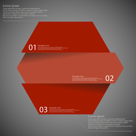 red label: Illustration infographic template with shape of hexagon which is cut or divided to three separate parts with red colors. Each piece contains unique number and space for text. All is on dark.