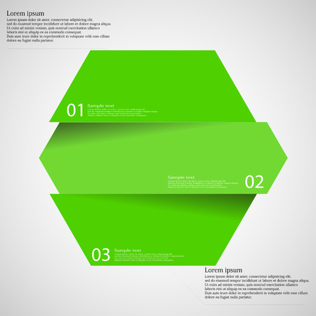 six web website: Illustration infographic template with shape of hexagon which is cut or divided to three separate parts with green colors. Each piece contains unique number and space for text. All is on light.