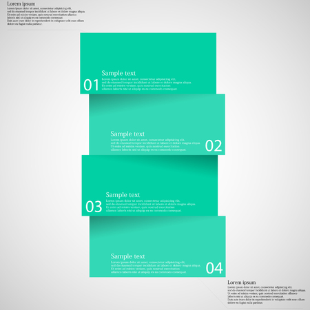 color chart: Illustration infographic template with shape of bar which is cut or divided to four separate parts with blue green colors. Each piece contains unique number and space for text. All is on light. Illustration