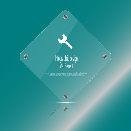 replaced: Illustration infographic template with glass rhombus which contains simple sign of wrench and sample text which could be replaced according customers needs. Background is blue. Illustration