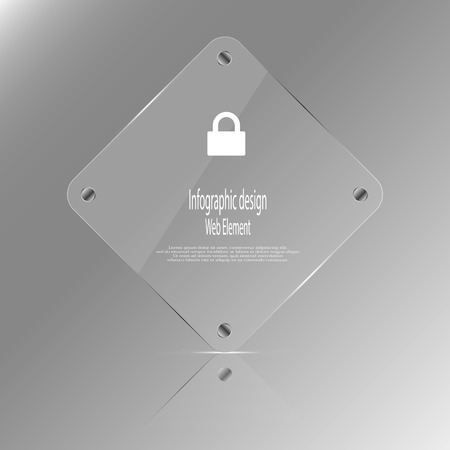 according: Illustration infographic template with glass rhombus which contains simple sign of locker and sample text which could be replaced according customers needs. Background is grey.