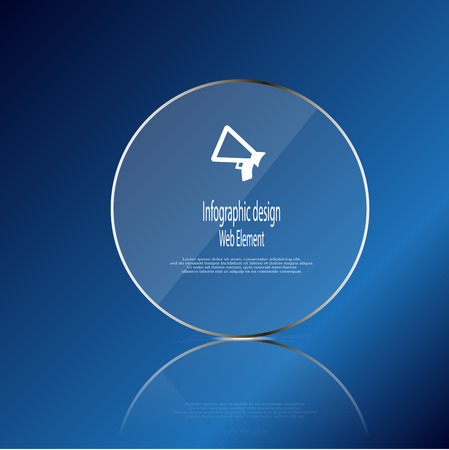 replaced: Illustration infographic template with glass ring which contains simple sign of megaphone and sample text which could be replaced according customers needs. Background is blue. Illustration