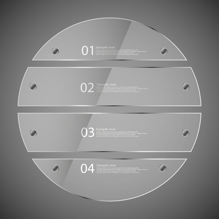 silver circle: Illustration infographic template with glass ring divided to four parts. Each part has space for own text and two fixing screws. Background is dark grey. Illustration