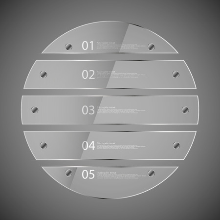 fixed: Glass infographic illustration template with motif of circle which is divided to five transparent parts. Each part is fixed by silver bolts. Background is grey.