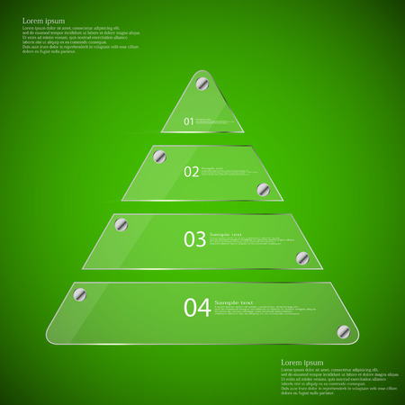 fixed: Glass infographic illustration template with motif of triangle which is divided to four transparent parts. Each part is fixed by silver bolts. Background is green.